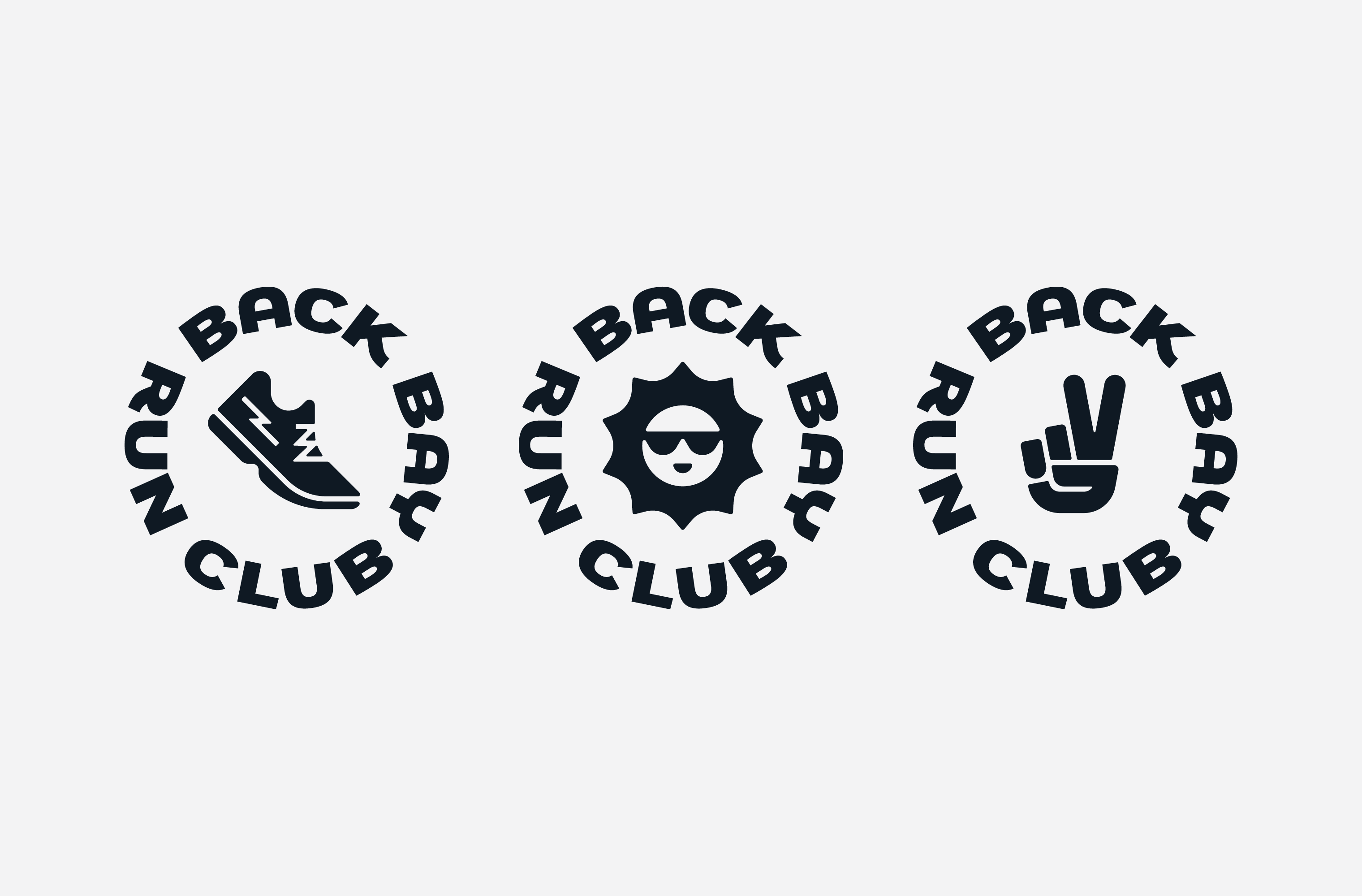 Three black Back Bay Run Club badges featuring illustrations of a sneaker, sunshine and peace sign