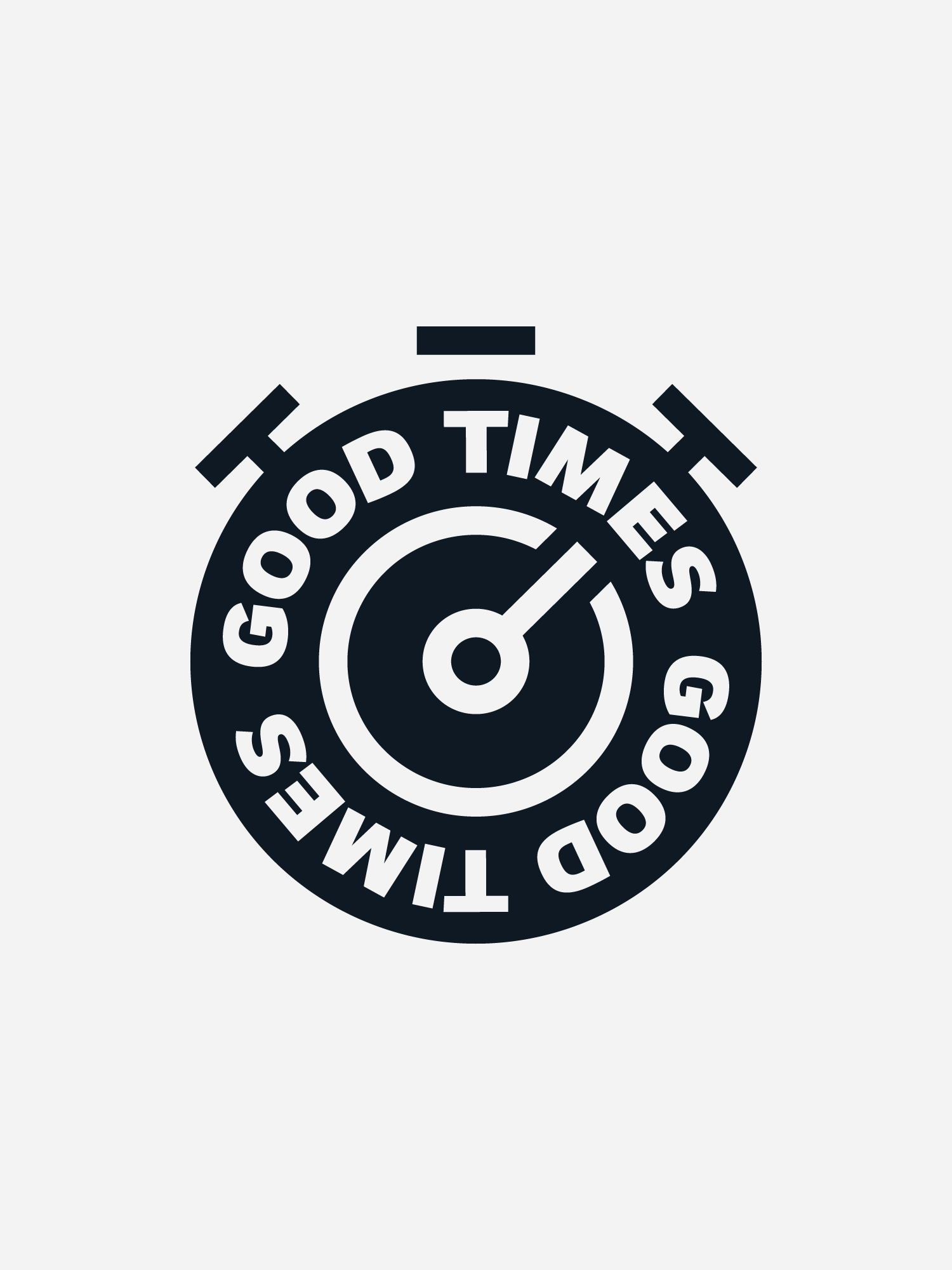 Black Back Bay Run Club 'Good Times' stopwatch on a light grey background