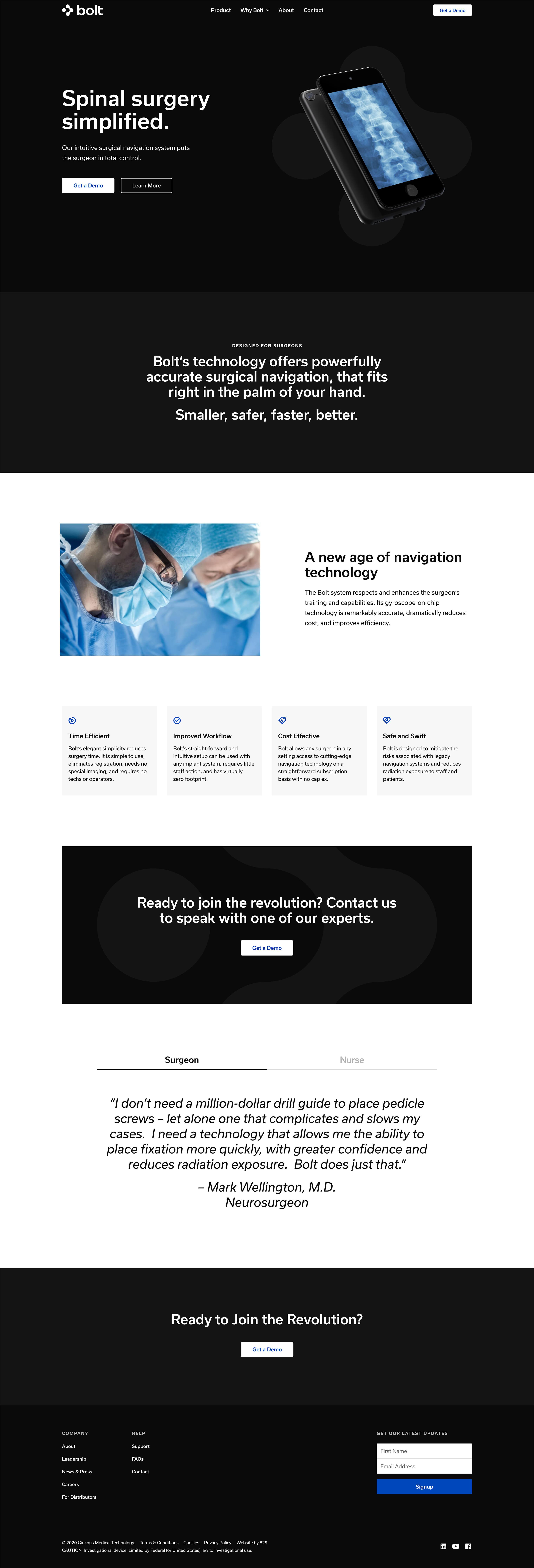 Desktop 'Homepage' for the Bolt website
