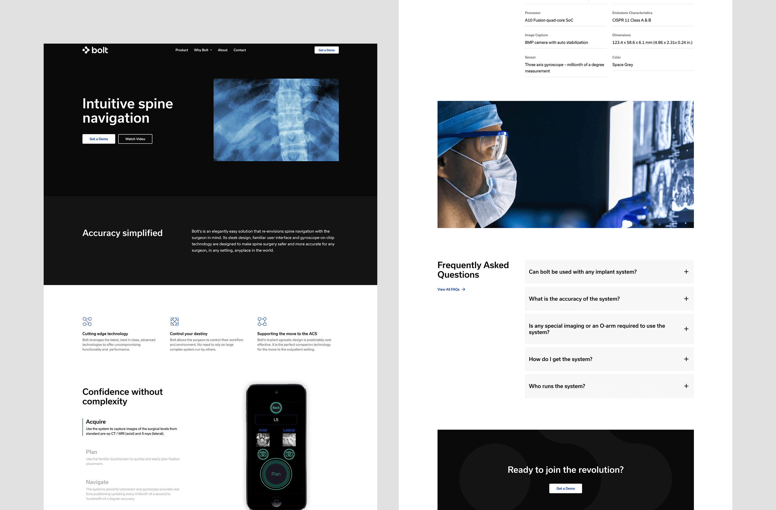 Desktop 'Product' page for the Bolt website