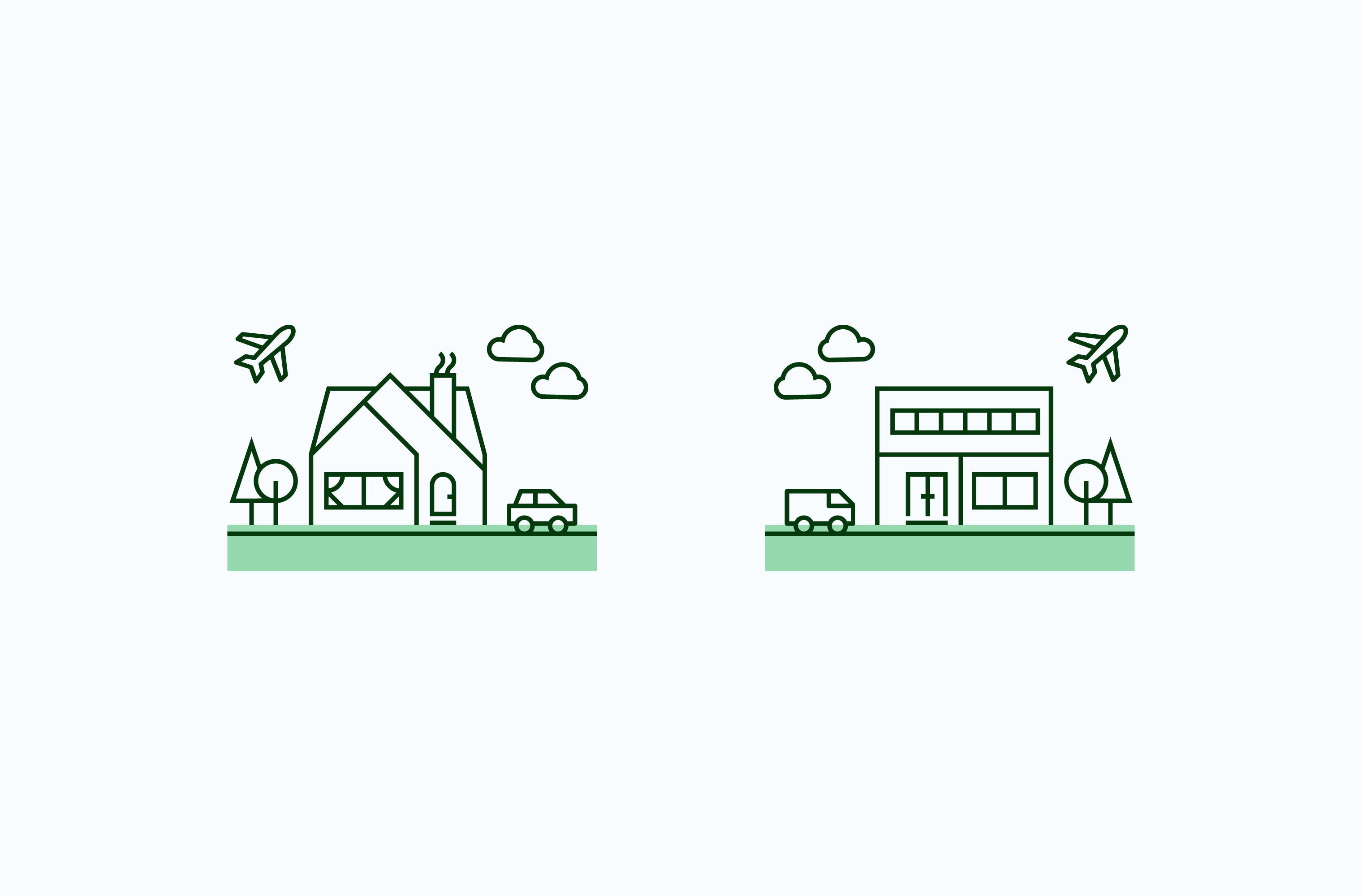 Carbonfund home and work icon set