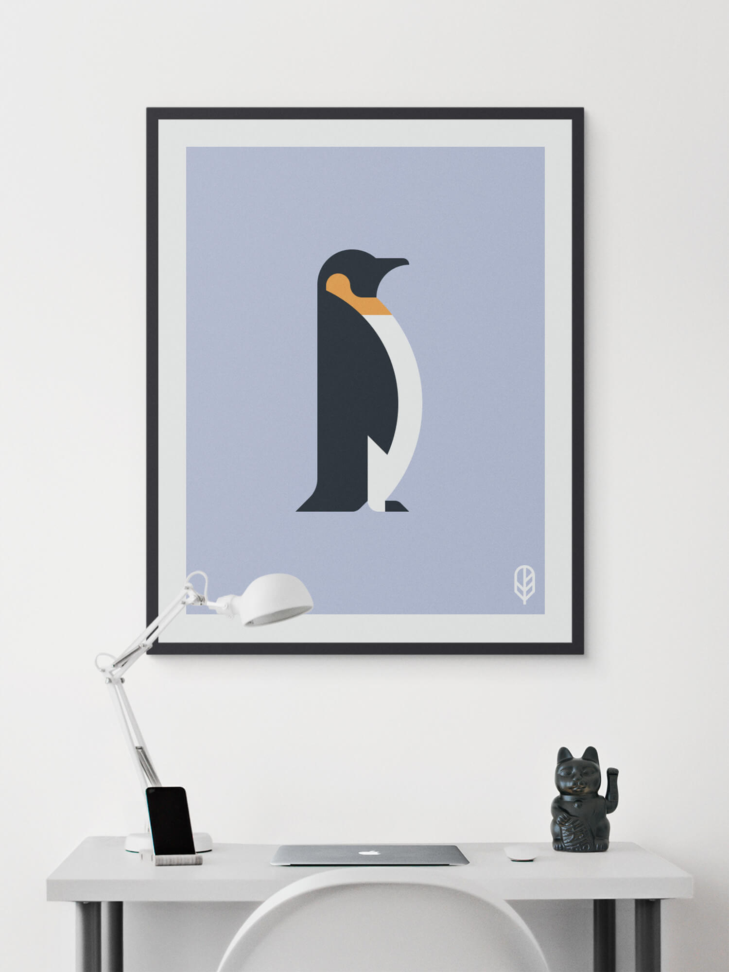 Framed Flock Together print displaying the illustration of a penguin on the wall of a modern apartment