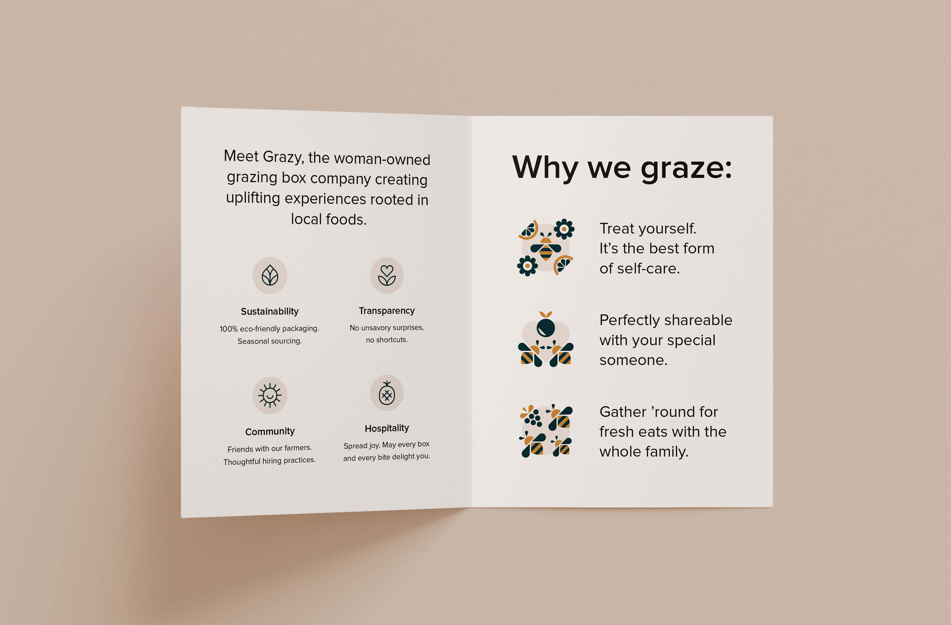 Inside spread of the bifold Grazy booklet