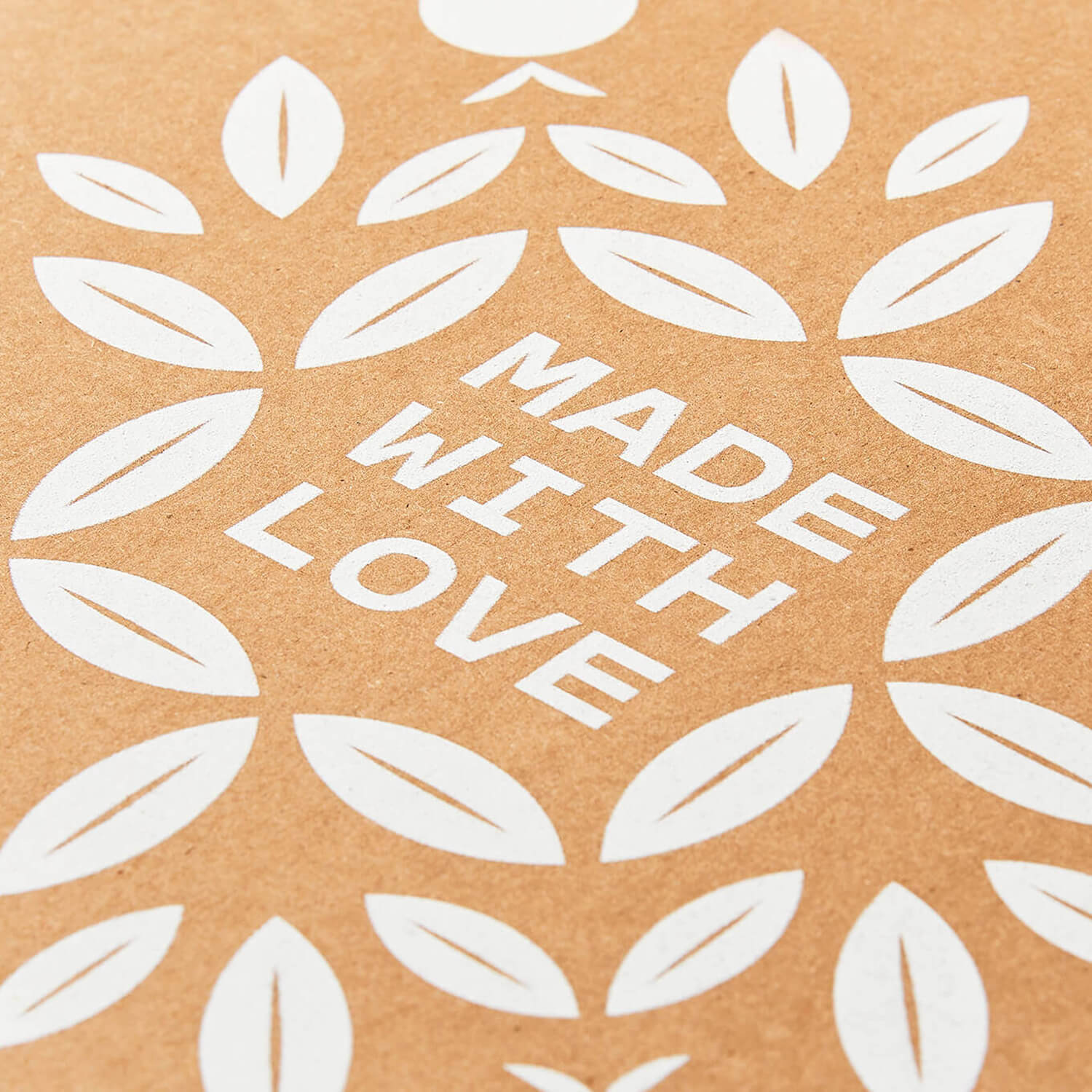 Close-up of 'Made With Love' surrounded by a leafy pattern on the interior lid of the Grazy box