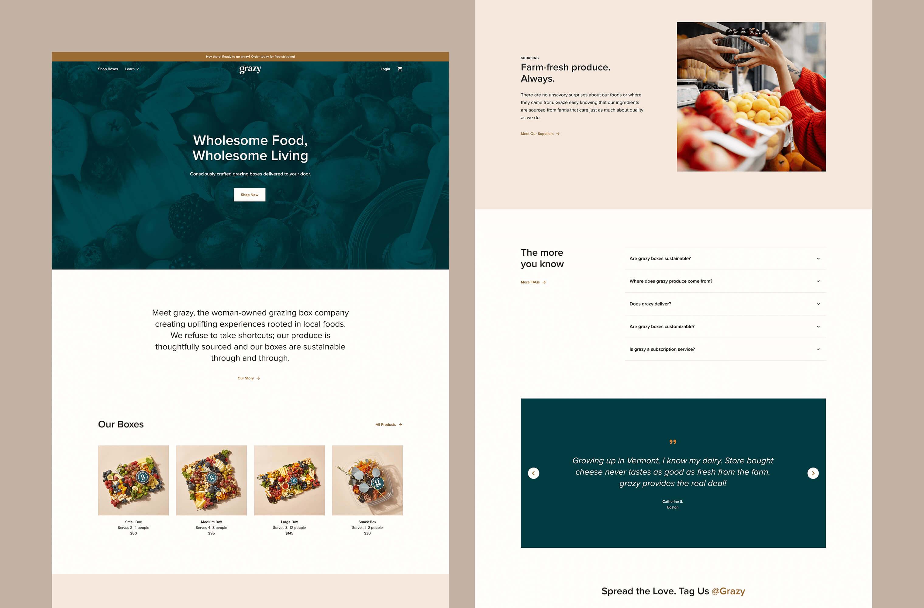 Desktop 'Homepage' for the Grazy website