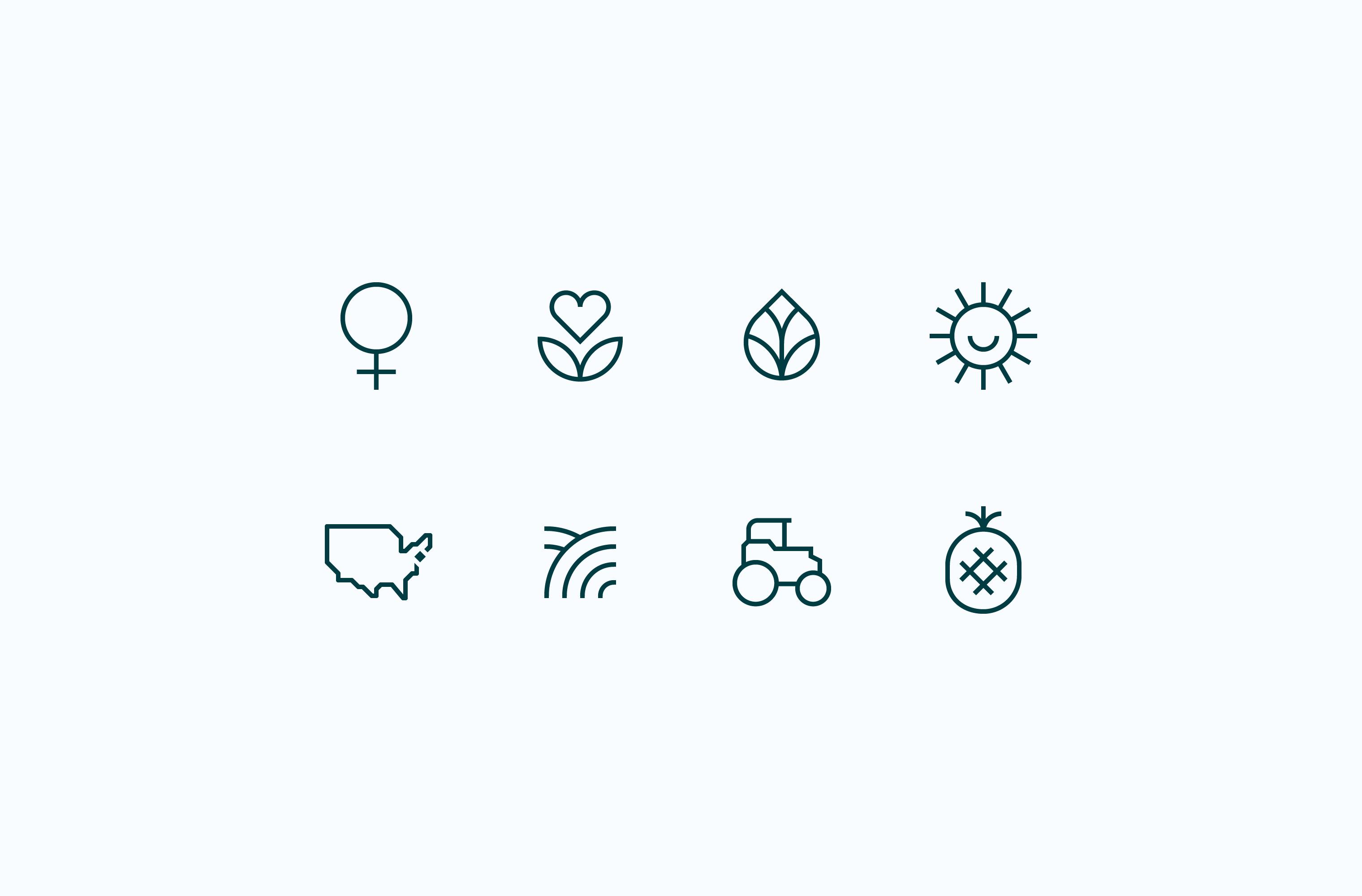 Grazy brand values icon set