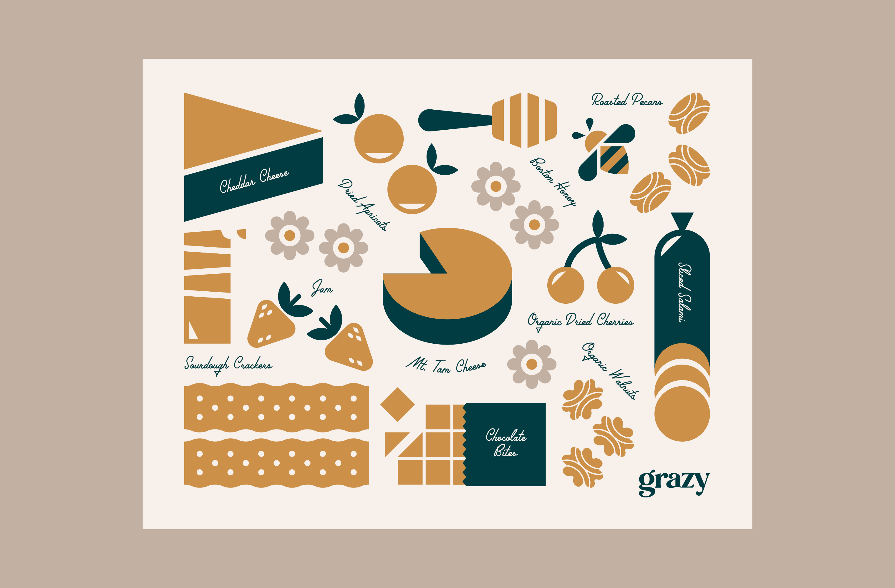 Ingredients illustration included in a special edition Grazy box for Google