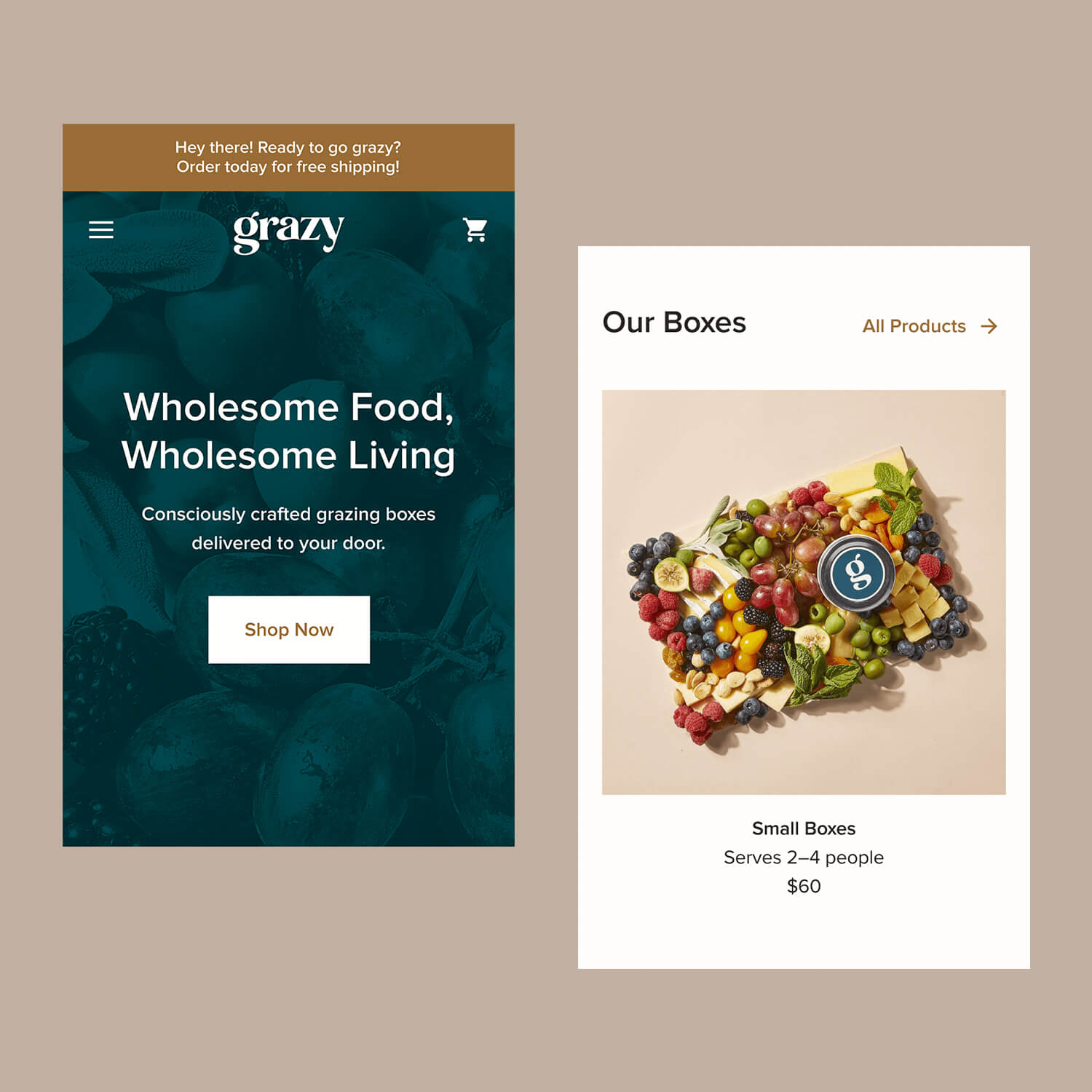 Mobile 'Homepage' crops for the Grazy website
