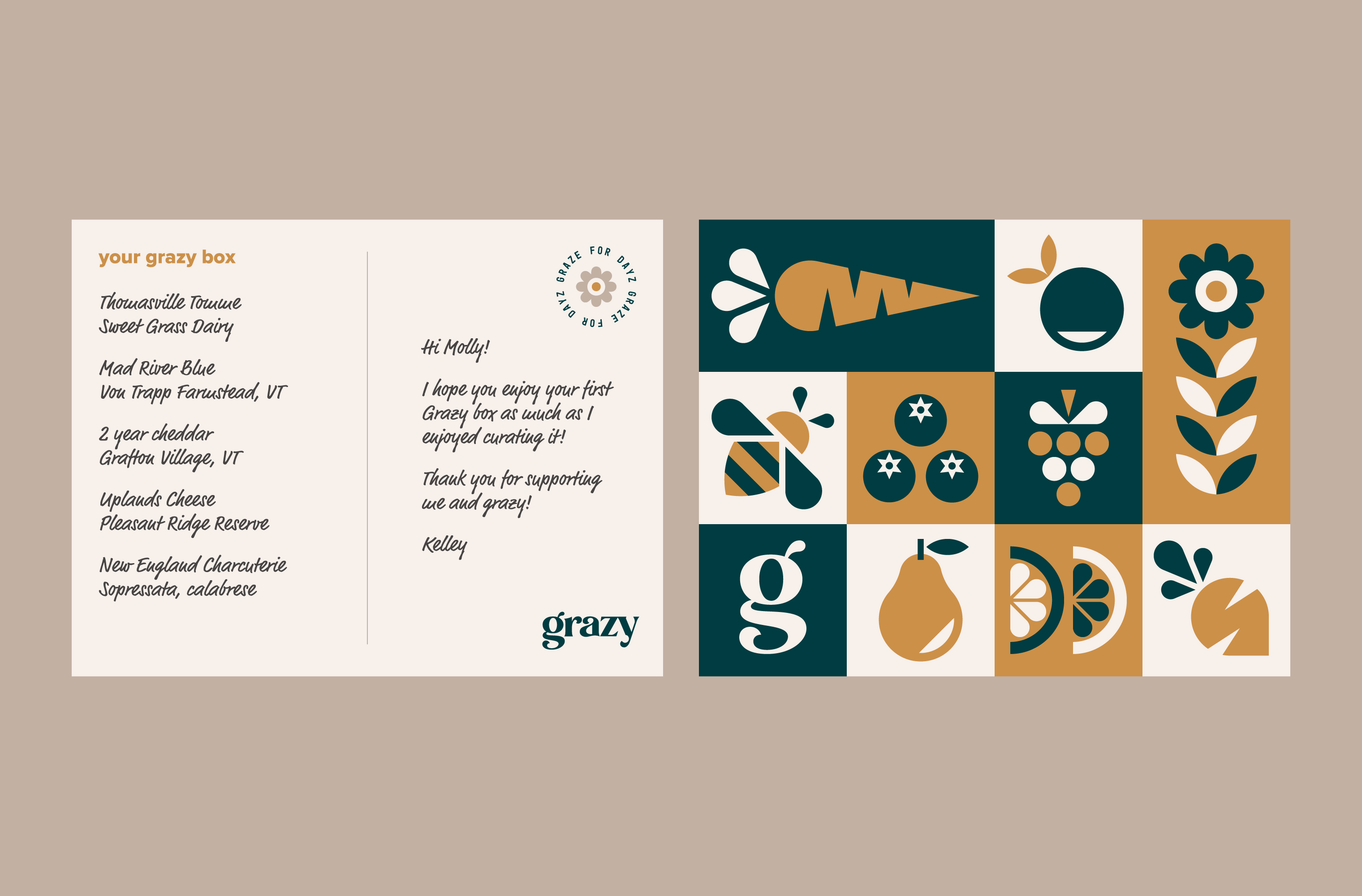 Front and back of the Grazy notecard that describes the box ingredients