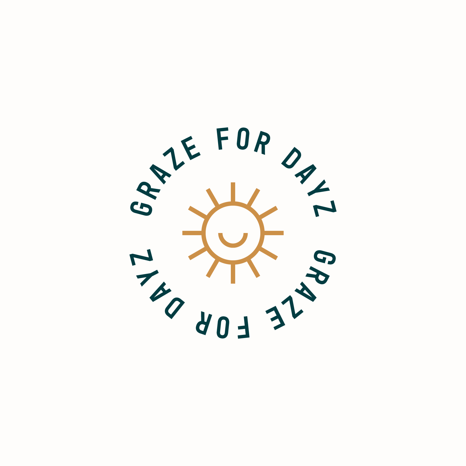 Circular 'Graze for Dayz' badge with a cute sun icon in the center for Grazy