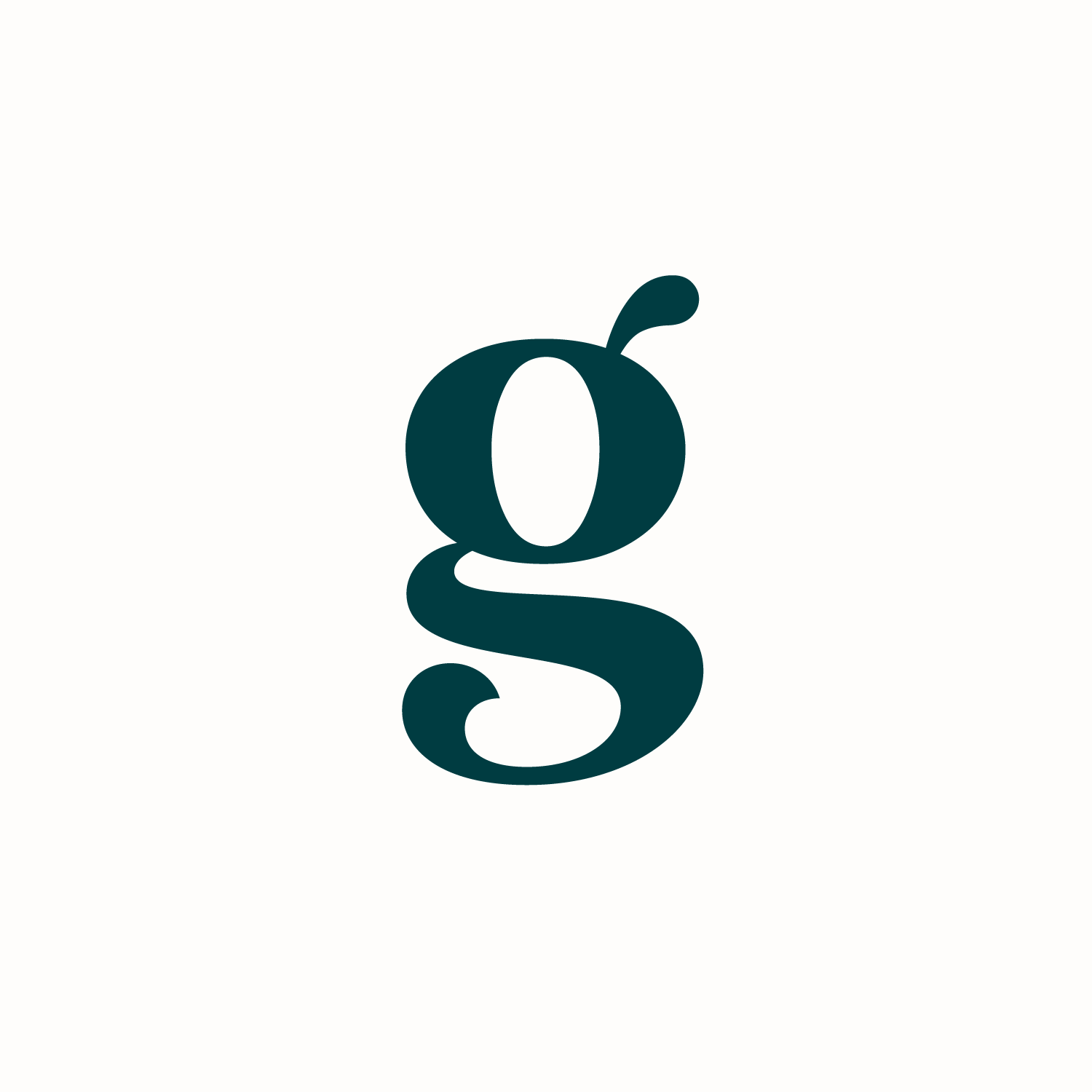 Teal 'g' monogram on a white background for Grazy