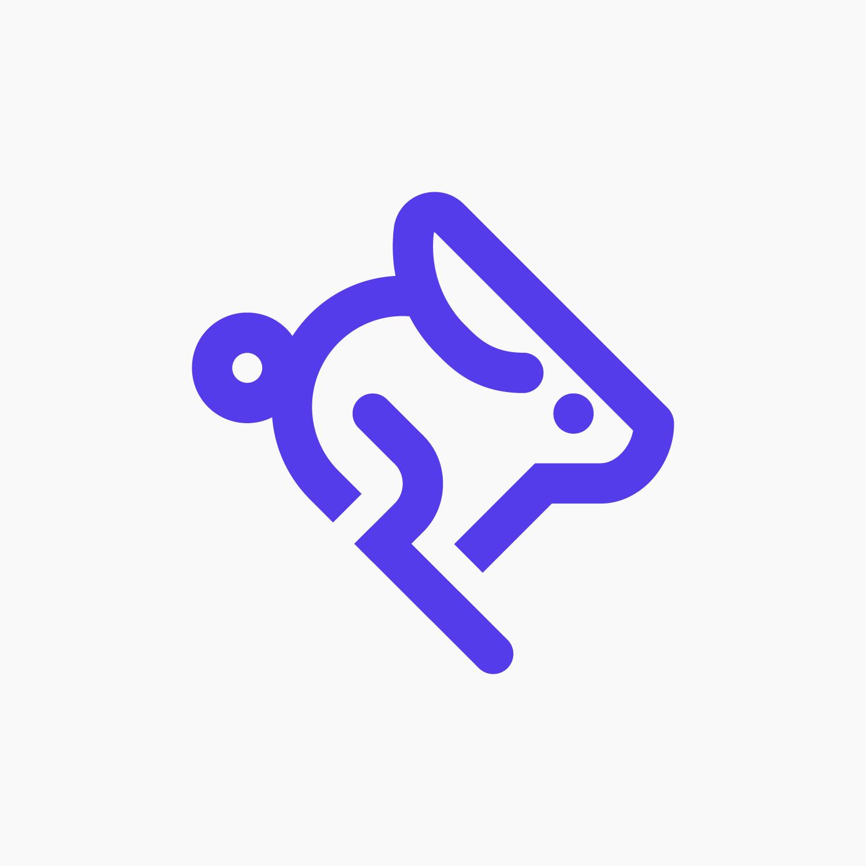 Purple speedy bunny for Lightning Talks on a white background