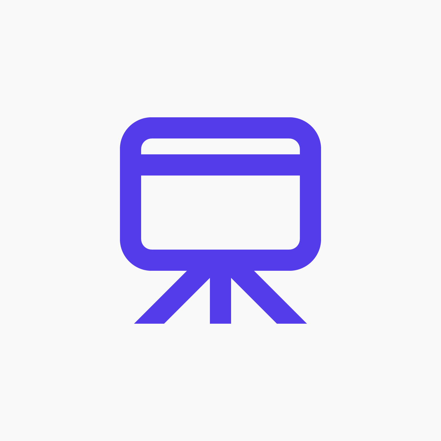 Purple presentation icon for Lightning Talks on a white background