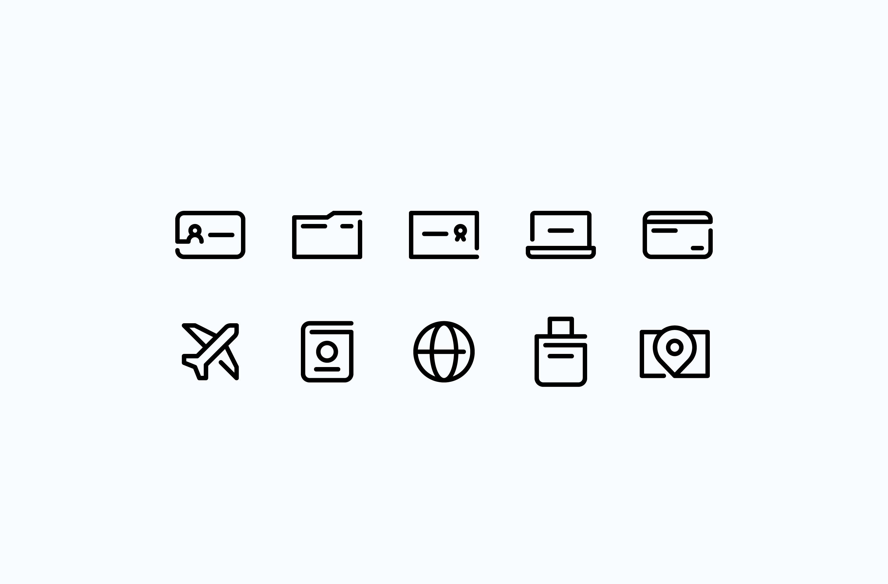 Nomadic business travel icon set