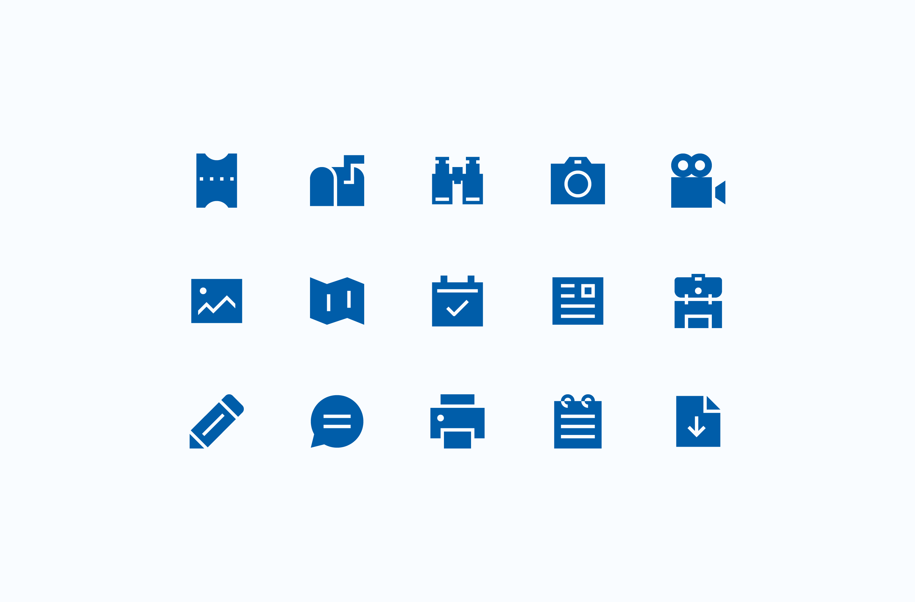 OARS trip itinerary icon set