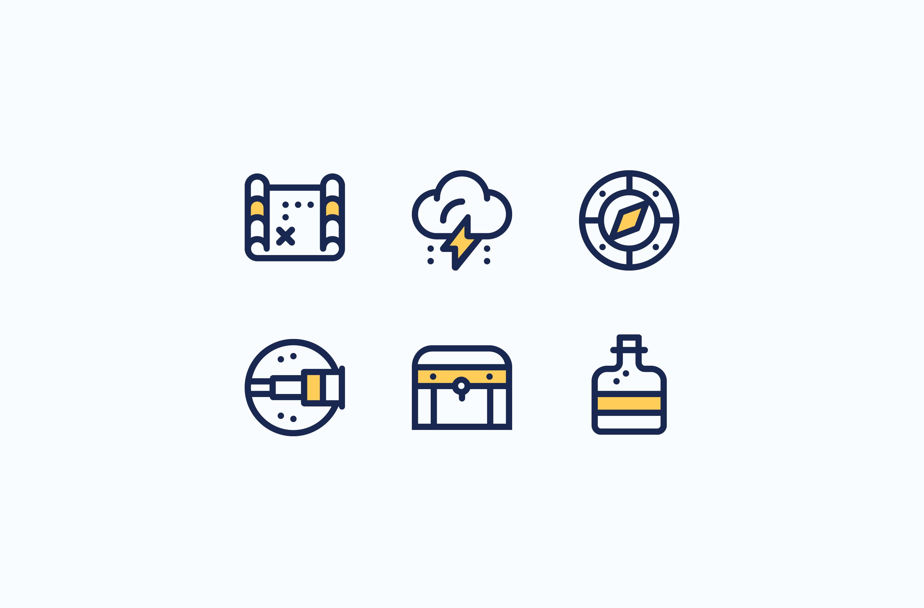 Creative Process treasure hunt icon set
