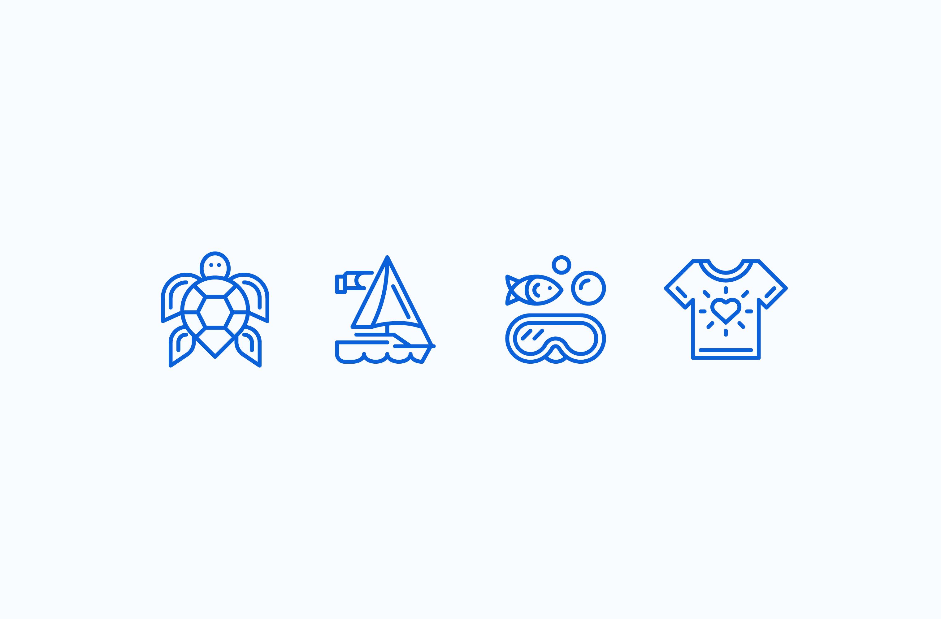 Sail Caribbean icon set