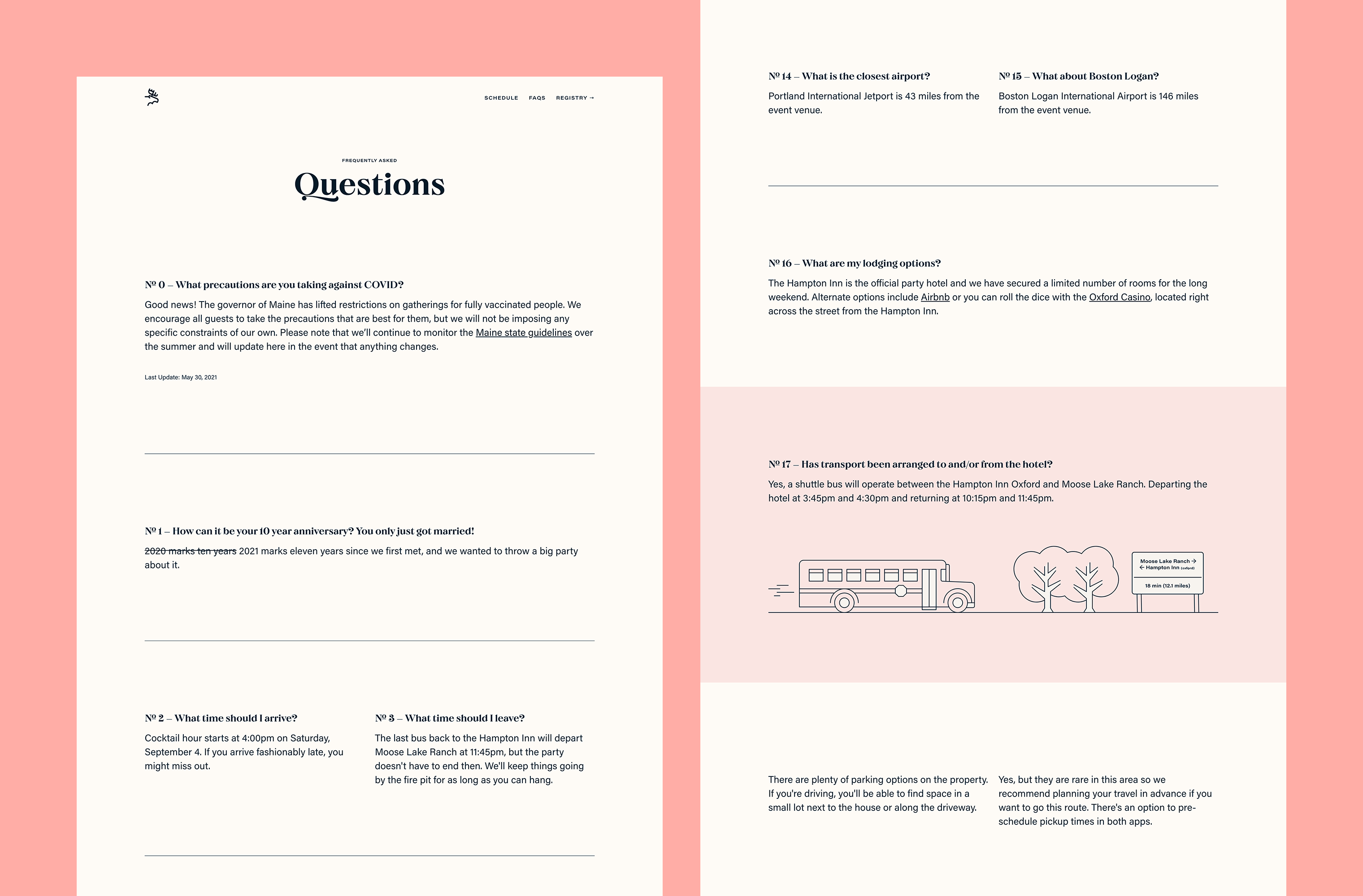 Desktop 'FAQs' page for the Ten Years website