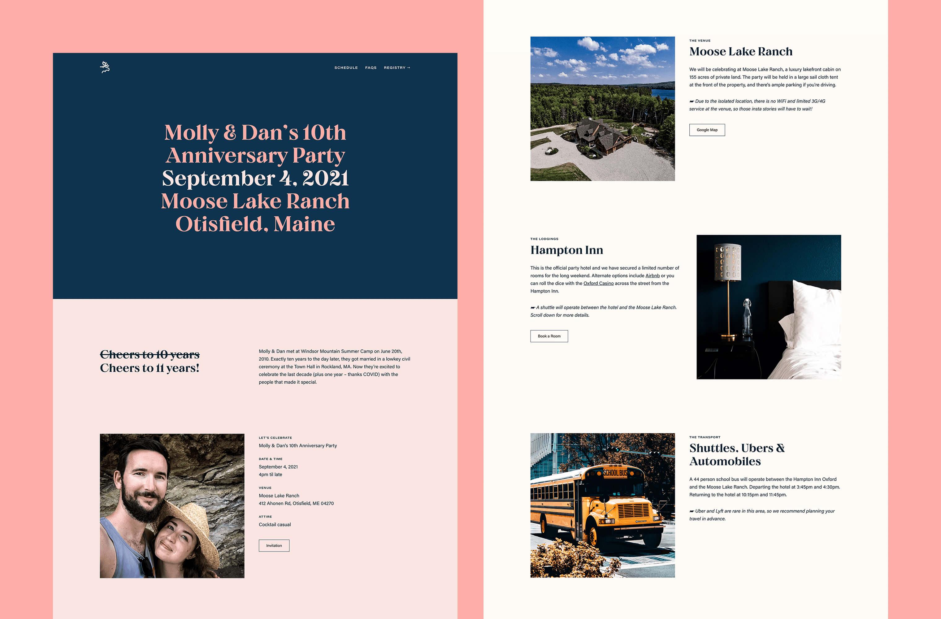 Desktop 'Homepage' for the Ten Years website