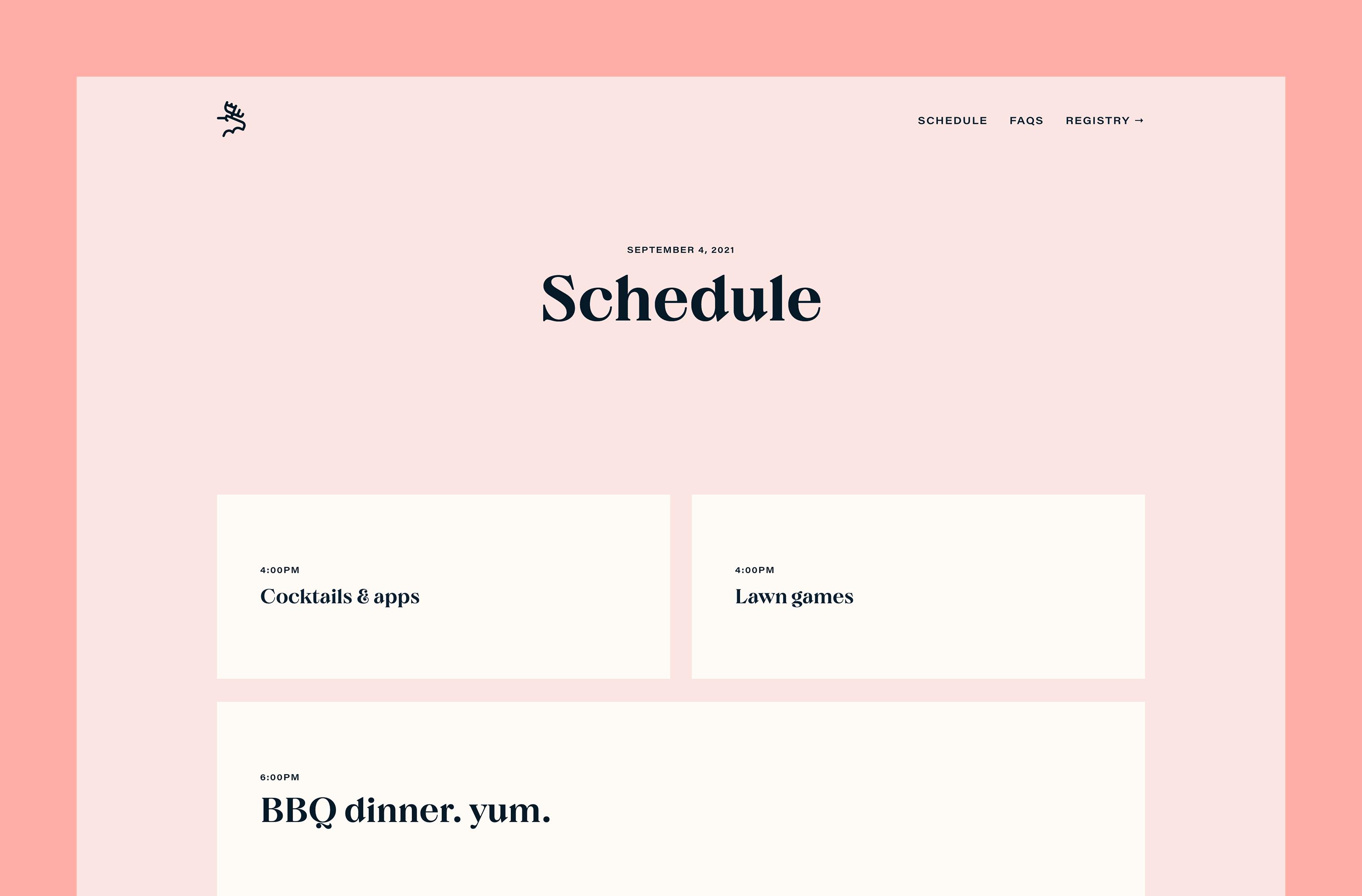 Desktop 'Schedule' page for the Ten Years website