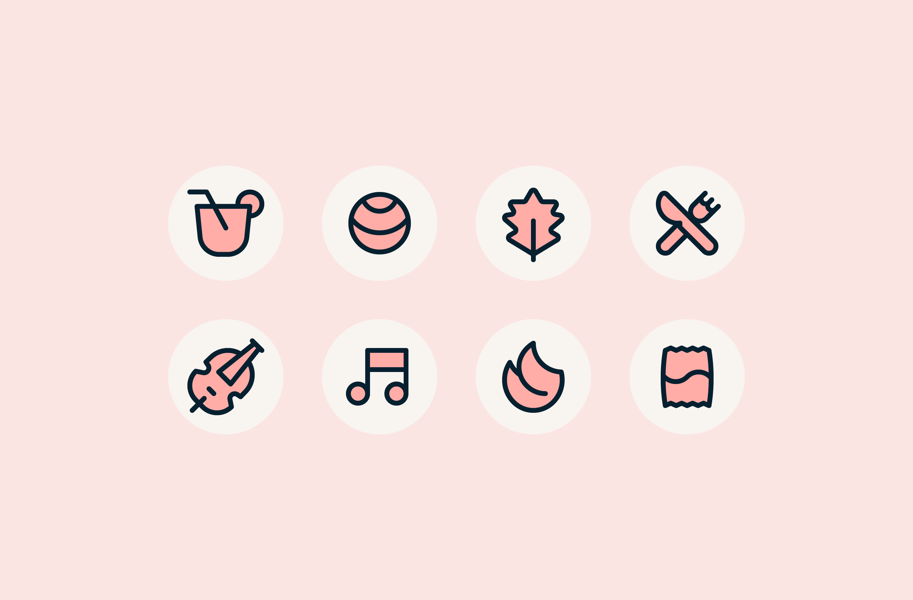 Icon set for the Ten Years website
