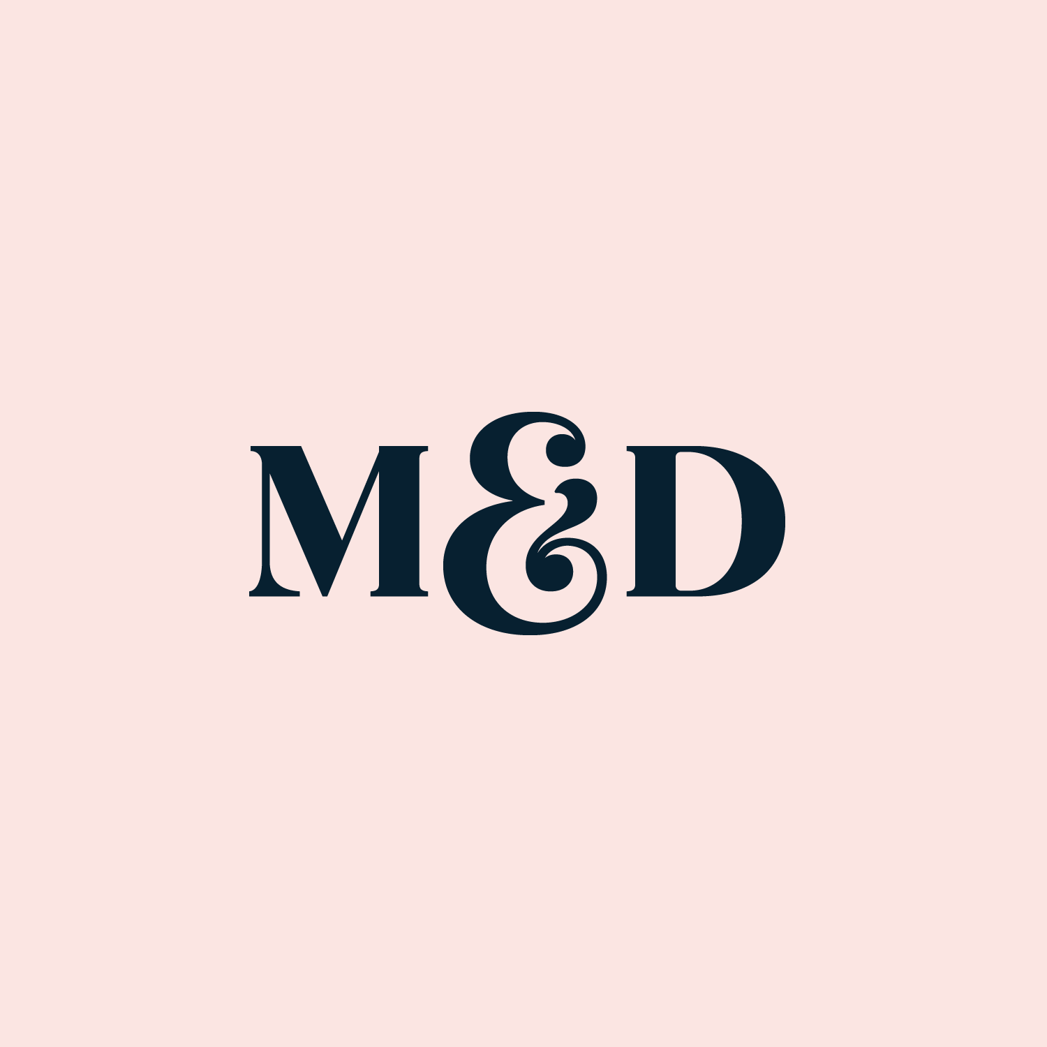 Blue M&D Ten Years monogram on a light pink background
