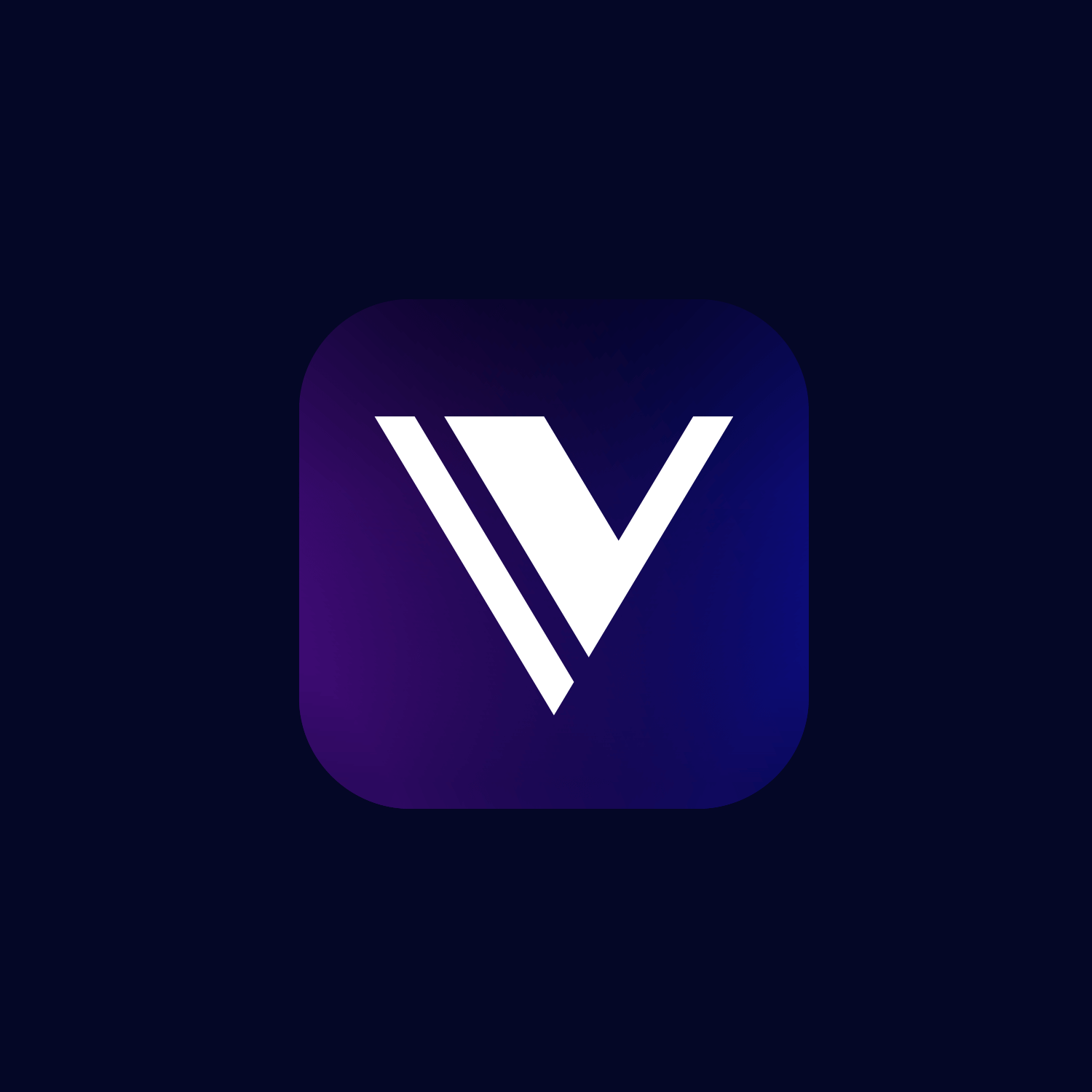 White V monogram on a deep purple and blue gradient app icon with a navy background