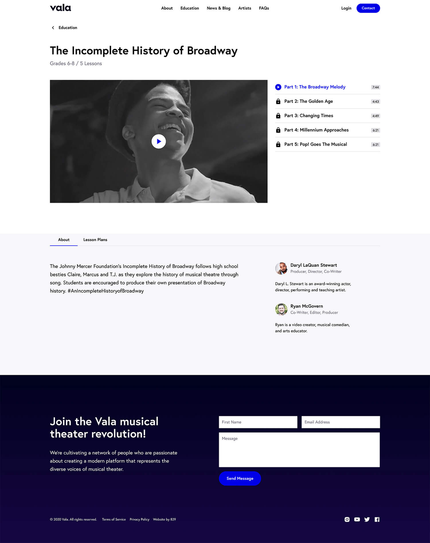 Desktop 'Education Detail' page for the Grazy website