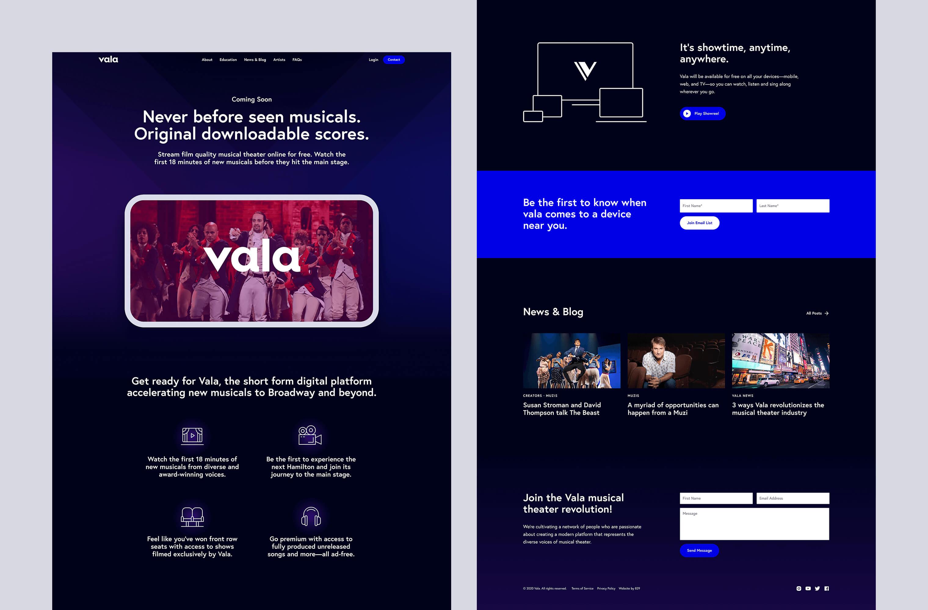 Desktop 'Homepage' for the Vala website