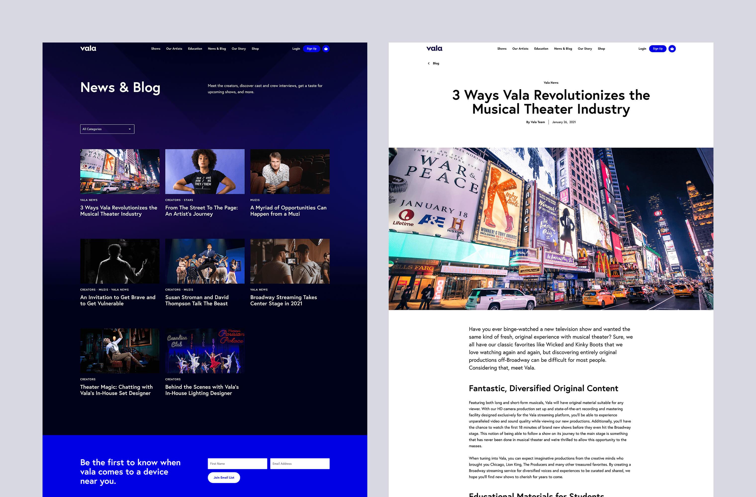 Desktop 'Blog & News' page for the Grazy website