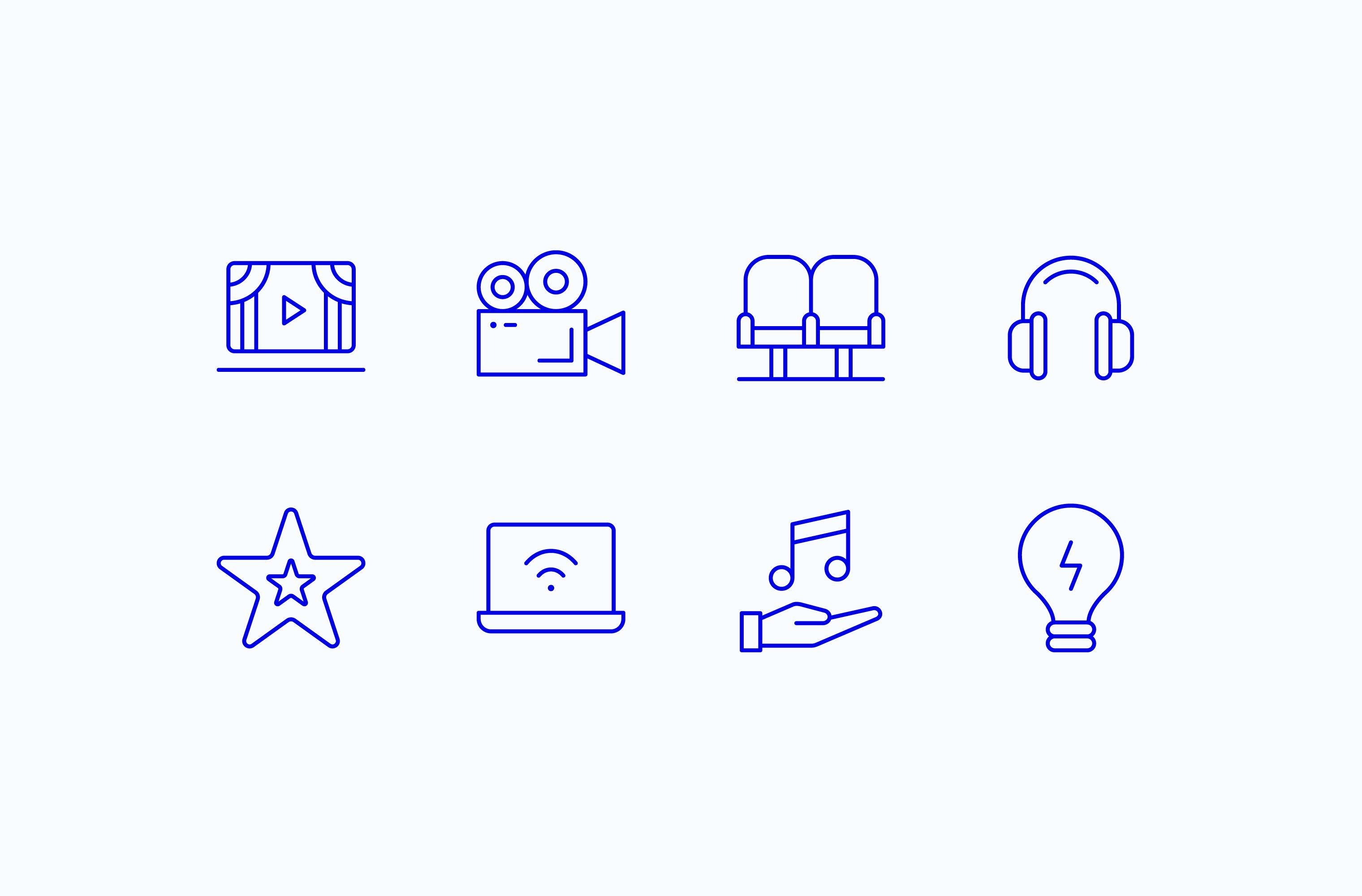 Electric blue Vala icon set on a white background