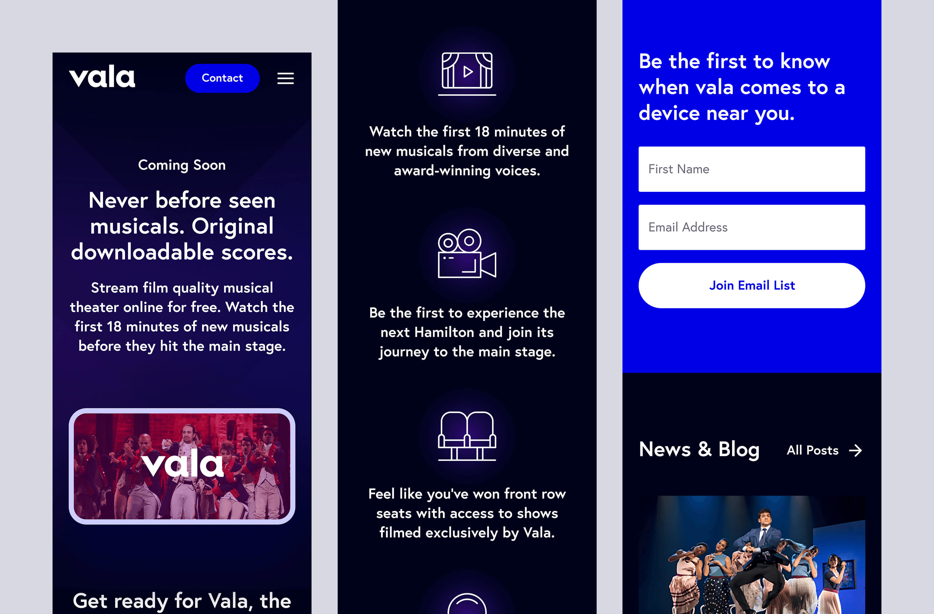 Mobile 'Homepage' for the Vala website