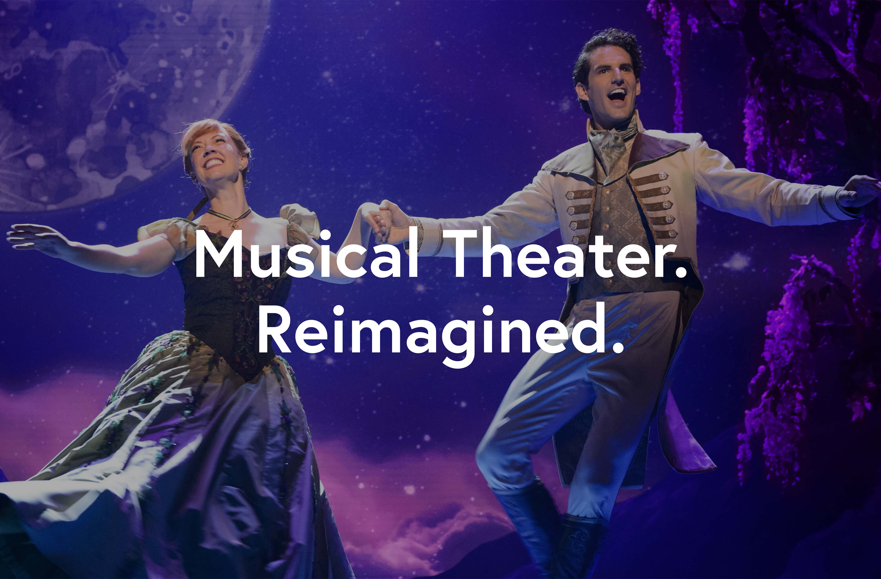 White 'Musical Theater. Reimagined' on a off-broadway image to convey the Vala brand positioning