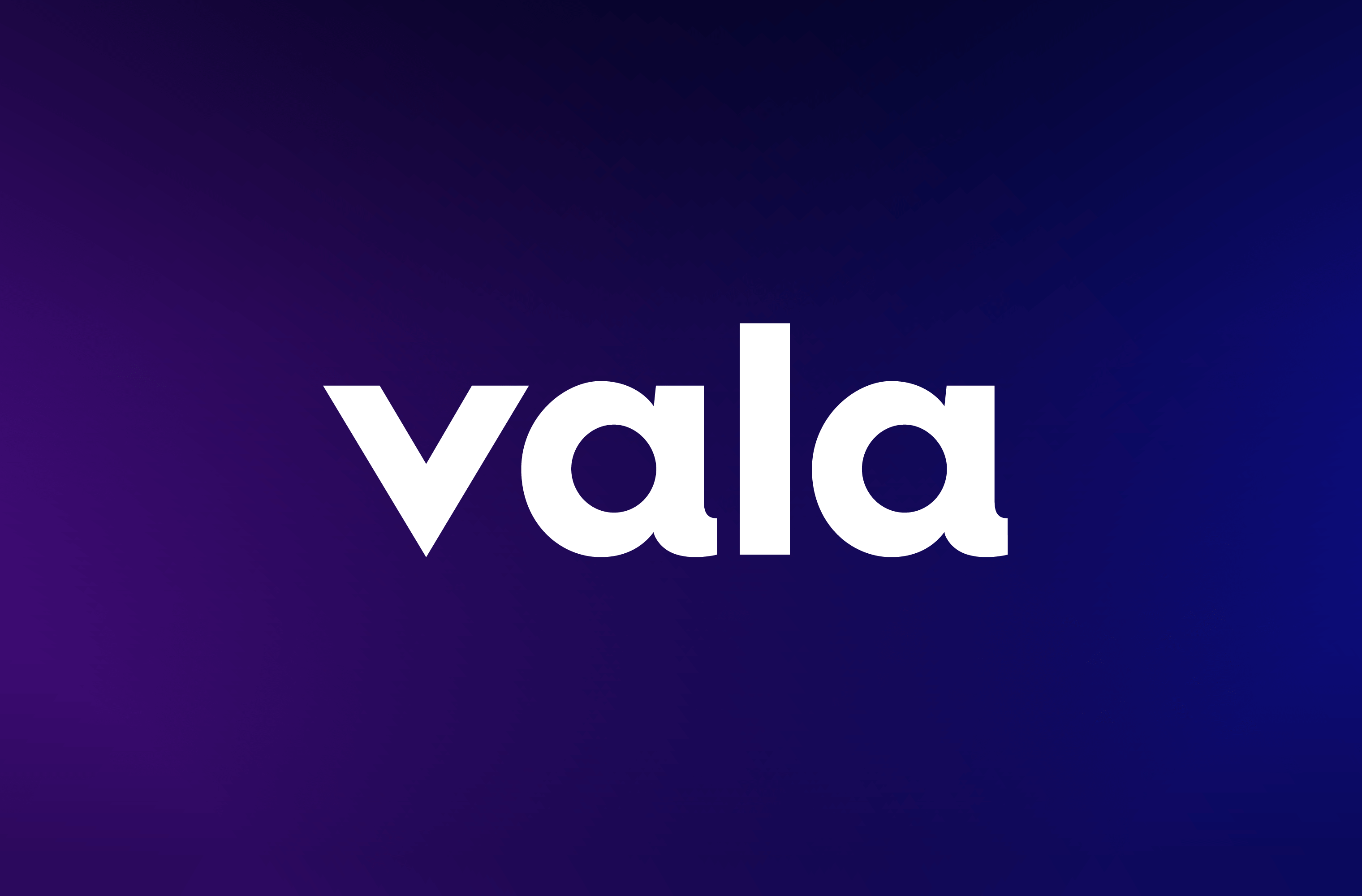 White Vala wordmark on a deep purple and blue gradient background