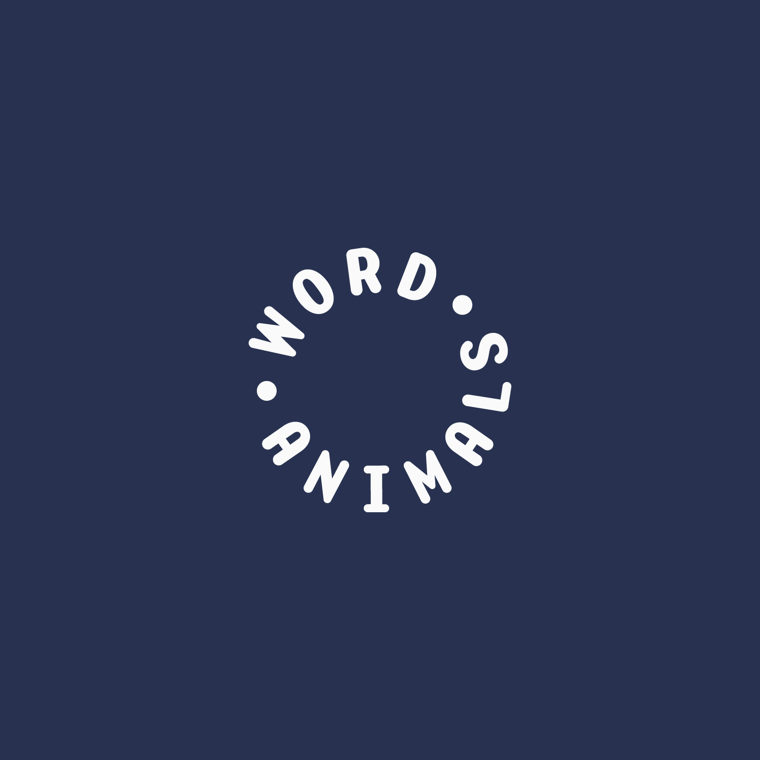 White circular Word Animals badge on a blue background