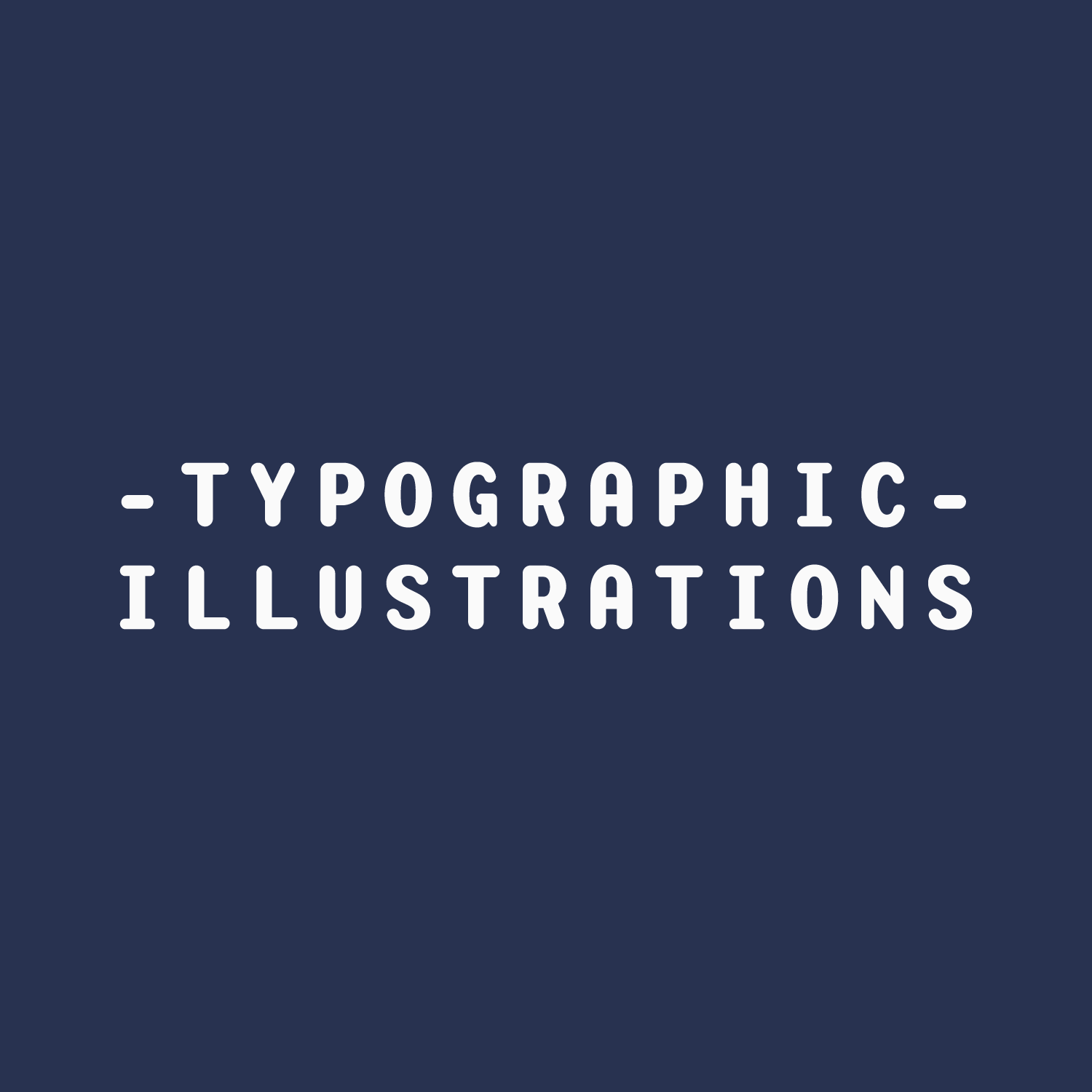 White Word Animals 'Typographic Illustrations' text on a blue background
