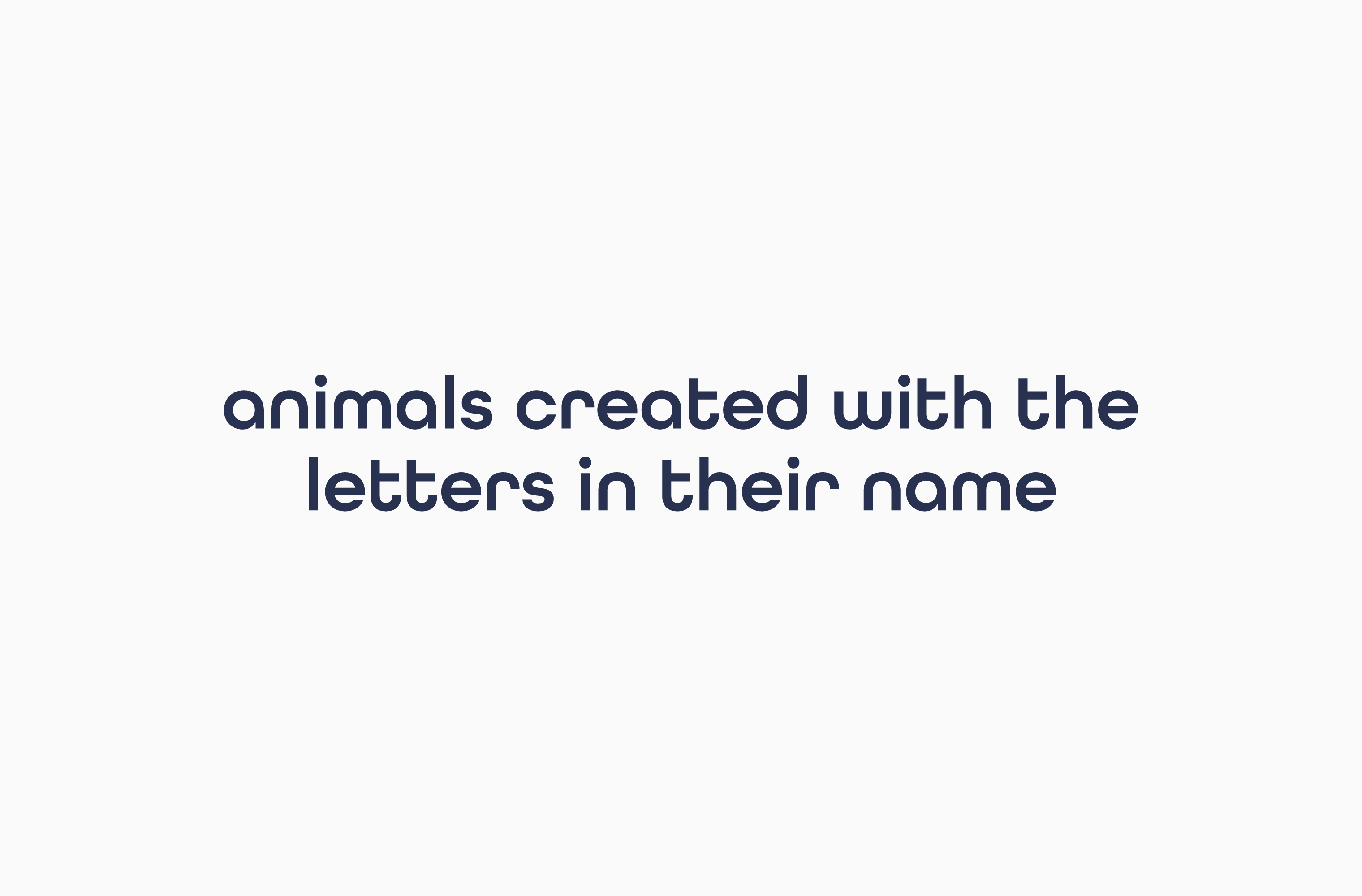One-liner describing Word Animals as 'animals created with the letters in their name
