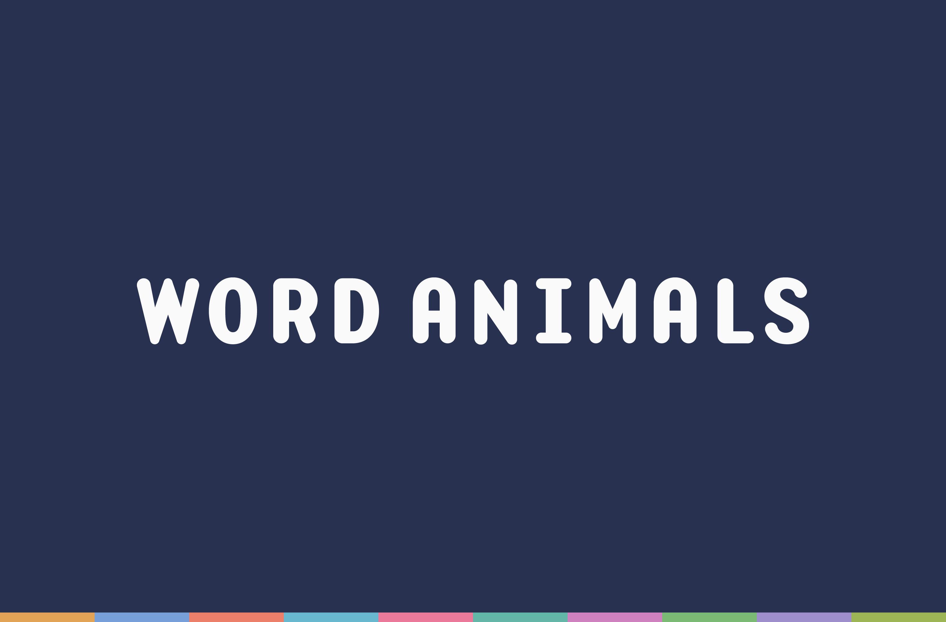 White Word Animals wordmark on a blue background