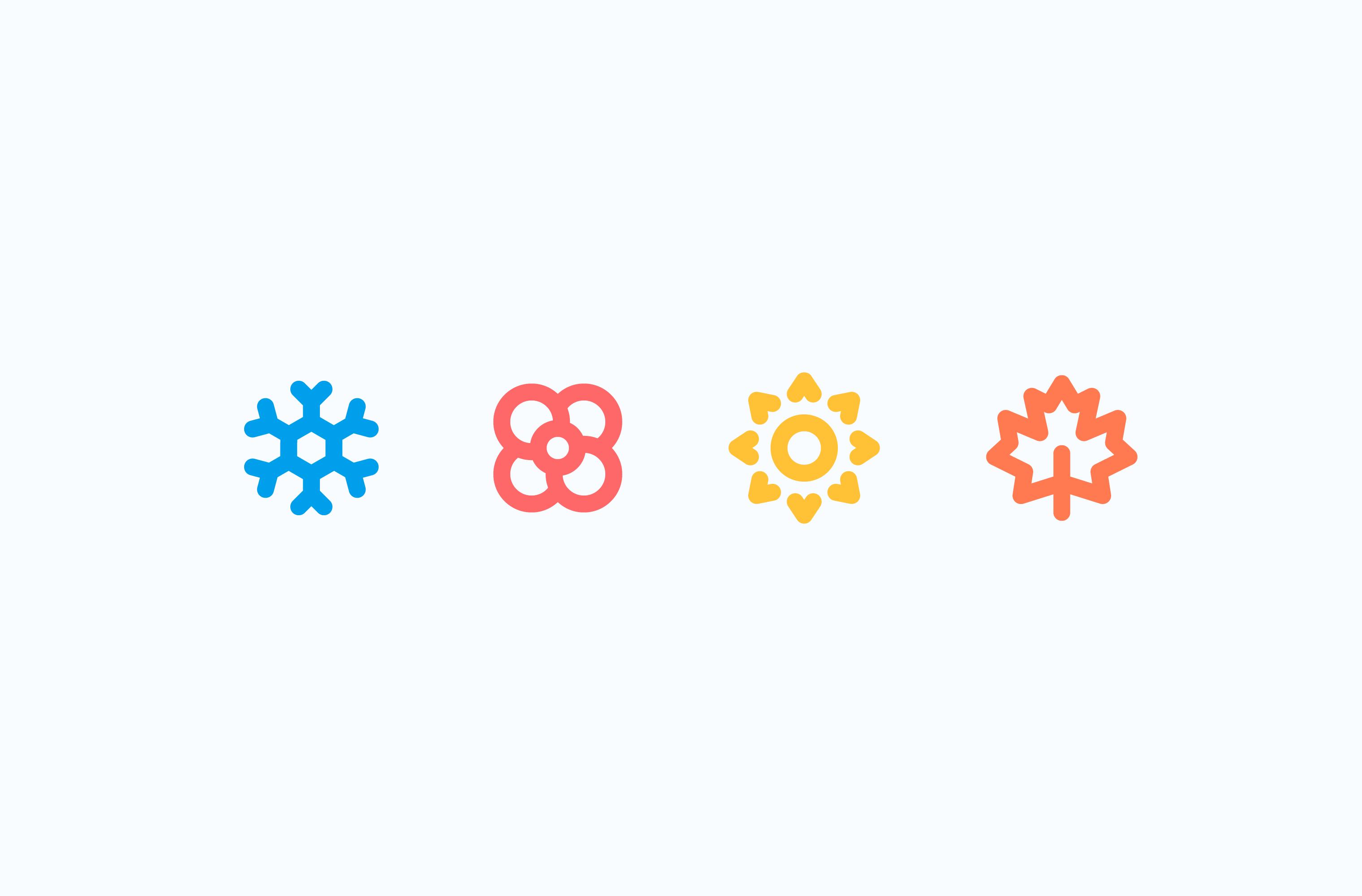 Zephyr Point seasons icon set