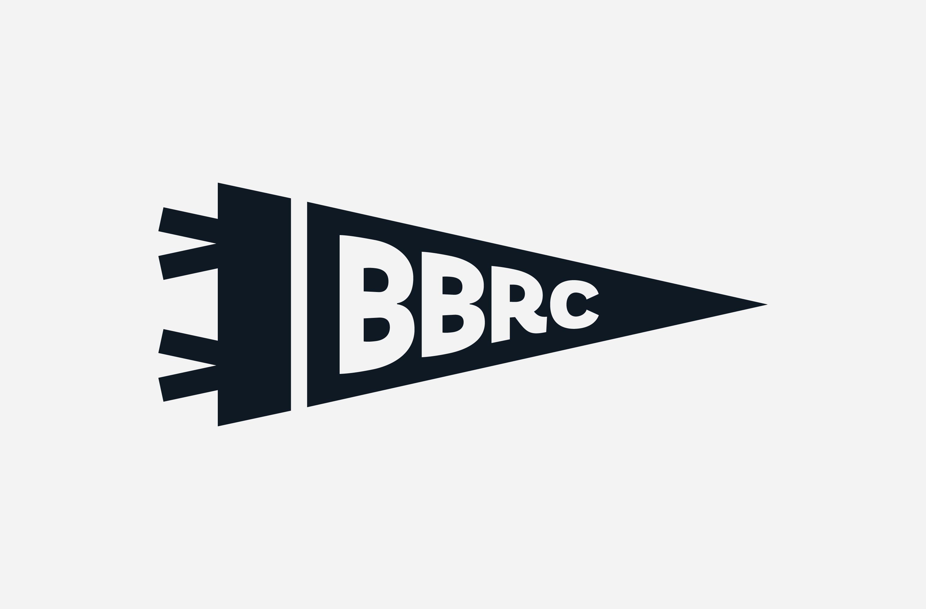 Pennant illustration featuring a BBRC monogram, created for Back Bay Run Club